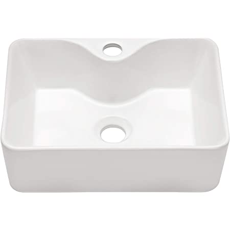 Lordear 16 X12 Bathroom Vessel Sink Rectangle Above Counter White Porcelain Ceramic Modern Vanity Sink Art Basin With Faucet Hole