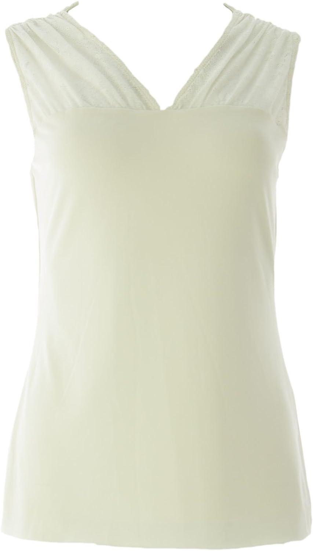 VELVET by Graham & Spencer Women's Lace Inset Sleeveless Blouse Small Milk