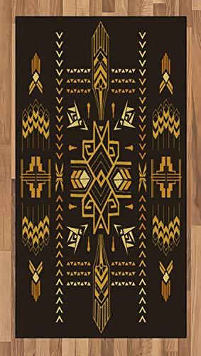ABAKUHAUS Geometrisch Teppich, Stammes-Weinlese Azteken, Deko-Teppich Digitaldruck, Färben mit langfristigen Halt, 80 x 150 cm, Dunkelbraun Senf