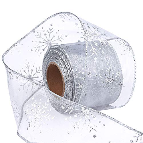 Livder 2.5 Inch Wide Christmas Wired Ribbon Snowflake Organza Sheer Glitter Ribbon for Xmas Tree, Wreath, Party Decoration, Gift Wrapping (White, 10.9 Yards)