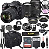 Nikon D7500 DSLR Camera with 18-140mm VR + Tamron 70-300mm + 32GB Card, Tripod, Flash, and More (21pc Bundle)