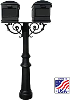 Qualarc HPWS2-US-800-LM Hanford Twin w/Scroll Supports Post Mounted Mailbox System, Black