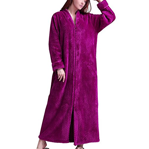 Pronghorn Bata de toalla de terciopelo mullido para mujer para bata de dormitorio [rose rojo - [10-14]]