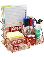 Comfook Bureauorganizer multifunctionele metalen bureauorganizer met lade, 6 vakken met 1 schuiflade voor kantoor, school en thuis
