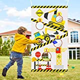BeYumi Construction Truck Toss Game Banner with 4 Bean Bags, Excavator Theme Party Game for Indoor Outdoor Activities, 4 Score Holes Digger Banner Birthday Party Decorations Supplies for Kids Adults