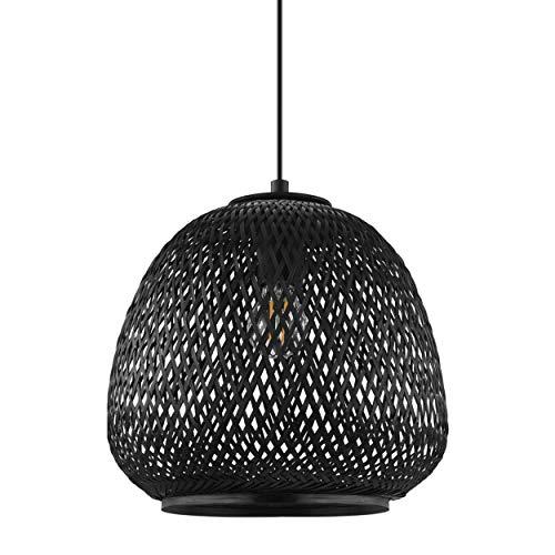 EGLO Pendelleuchte Dembleby 1, 1 flammige Hängelampe Vintage, Boho, Hängeleuchte aus Stahl und Holz in Schwarz, Esstischlampe, Wohnzimmerlampe hängend mit E27 Fassung