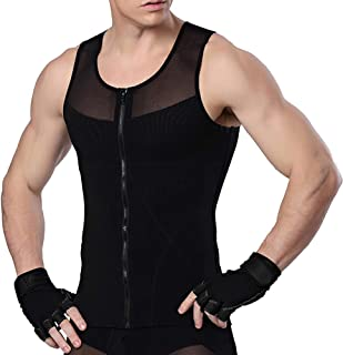MASS21 Mens Slimming Shapewear with Zipper Shirt Top Body Shaper Net Nylon Compression T-Shirts