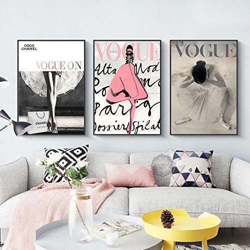 Tanyang Foglie di Fiori Rosa Modern Couture Wall Art Vogue Poster Stampe su Tela Quadri Decorazioni per la casa ImmaginiNo Cornice 35 * 50cm * 3