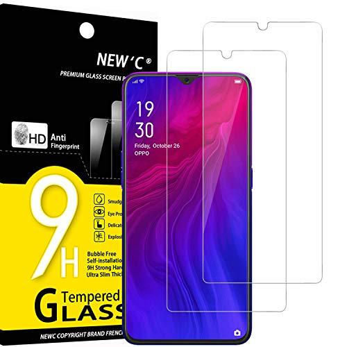 NEW'C Lot de 2, Verre Trempé Compatible avec Oppo Reno Z, Oppo R15X, Film Protection écran sans Bulles d'air Ultra Résistant (0,33mm HD Ultra Transparent) Dureté 9H Glass