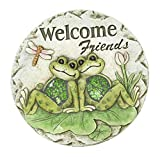 Spring Frogs on Lily Pads Garden Stepping Stone (Welcome Friends)