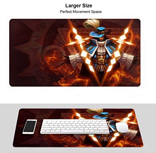 Large Gaming Mouse Pad for League Legends, Stitched Edges Anti Slip Rubber Base (Champion Twistedfate Musketeer)