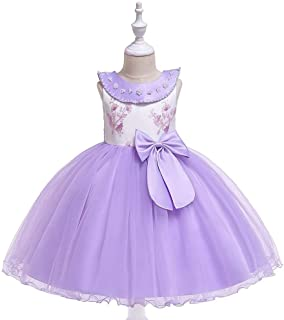 SEASHORE Princess Skirt Satin Girl Bow Flower Girl Wedding Performance Piano Costume 4-12 Years Old (Color : Purple, Size : 4-5T)