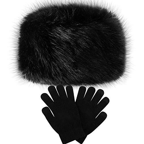 SATINIOR Damen Winter Kunstfell Hut Kosak Russischer Stil Warme Mütze mit Wollhandschuhen - Schwarz -
