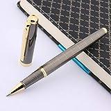 L.L.QYL Pluma Talla clásica G-un Metal Gris caligrafía Regalo del plumín de la Pluma Pluma Fuente (Color : R Pen, Size : Gratis)