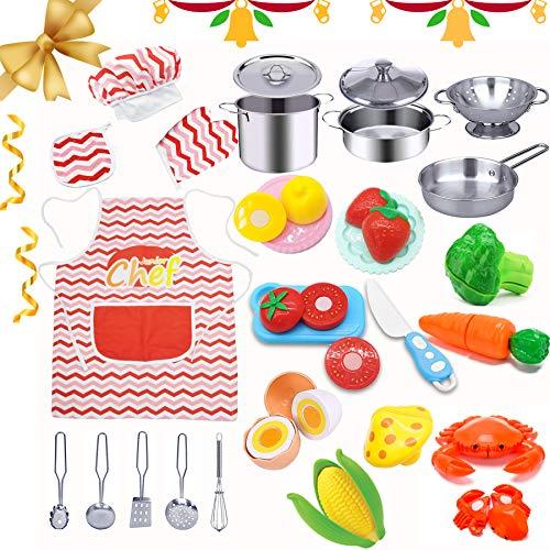 HapeeFun 29 Pezzi Giocattoli da Cucina per Bambini, Cucina Pentole Giocattolo per Bambini Taglio Cibo Verdura Acciaio Inossidabile Accessori Cucina, G