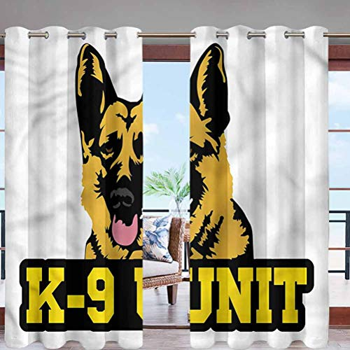 Hiiiman Elegant Grommet Top Waterproof Curtains Police Dog K-9 Unit W108 x L84 Extra Long for Patio Garden Porch Lawn Corridor Door