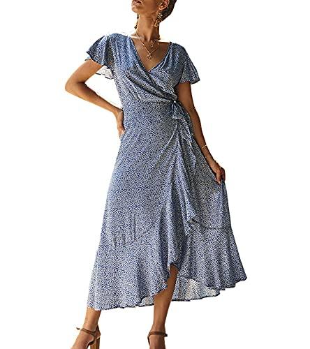 WHZXYDN Summer Women's Casual Printed Short Skirt V-Neck Short-Sleeved Dress Blue