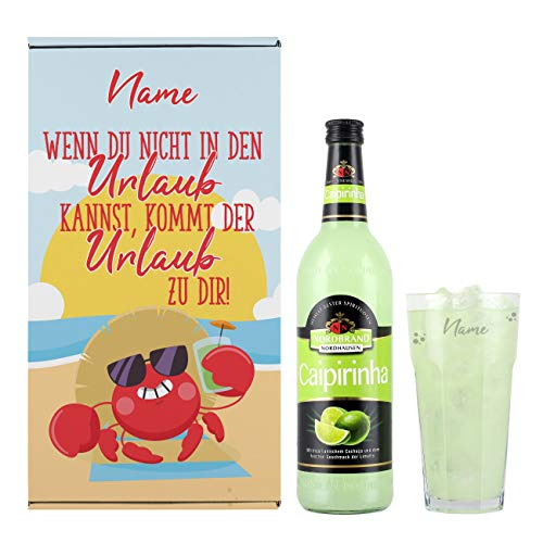 Herz & Heim® Urlaubsfeeling Geschenkset mit Caipi und graviertem Cocktailglas in Geschenkverpackung