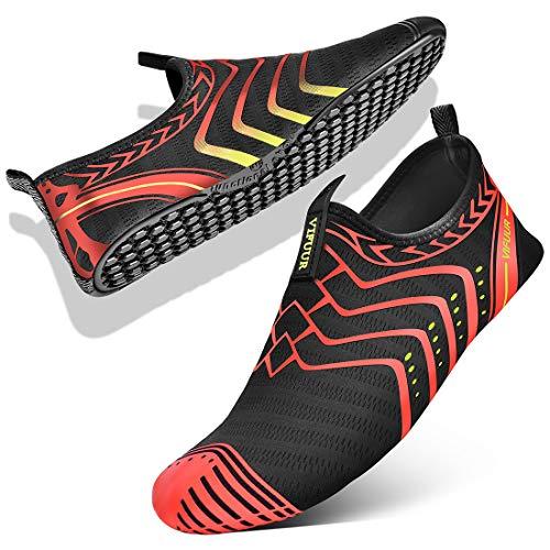 VIFUUR Womens Mens Water Shoes Comfortable Barefoot Shoes for Outdoor Beach Swimming Aqua Socks Orange 37/38