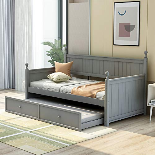 Wooden Twin Daybed with Trundle Bed, Space-Saving Sofa Bed for Bedroom Living Room (Grey with Trundle)