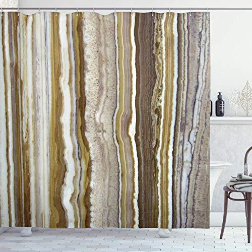 QDAS Marmer douchegordijn, marmer, rok, verticale lijnen, stroken, in grondkleur, opdruk, stof, badkamerdecoratie, decoratieset met haken, mosterd