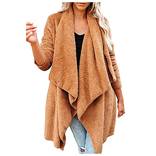 HFStorry Coat Women Winter Drape Open Front Cardigan Fuzzy Fleece Pocket Jacket Irregular Solid Color Cardigan