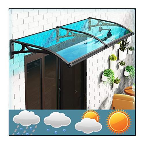 RZEMIN Marquesina para Puertas Ventanas, Cubierta Policarbonato para Patio Aire Libre Cubierta Aleros Nieve Lluvia, Toldo Superior Protección UV, 15 Tamaños (Color : Blue, Size : 60cmx200cm)