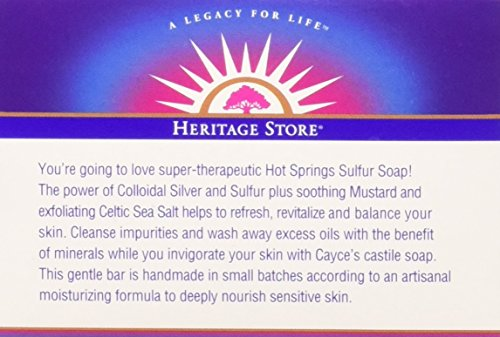 HERITAGE STORE Hot Springs Sulfur Soap, Bar, Unscented (Carton) | 3.5oz