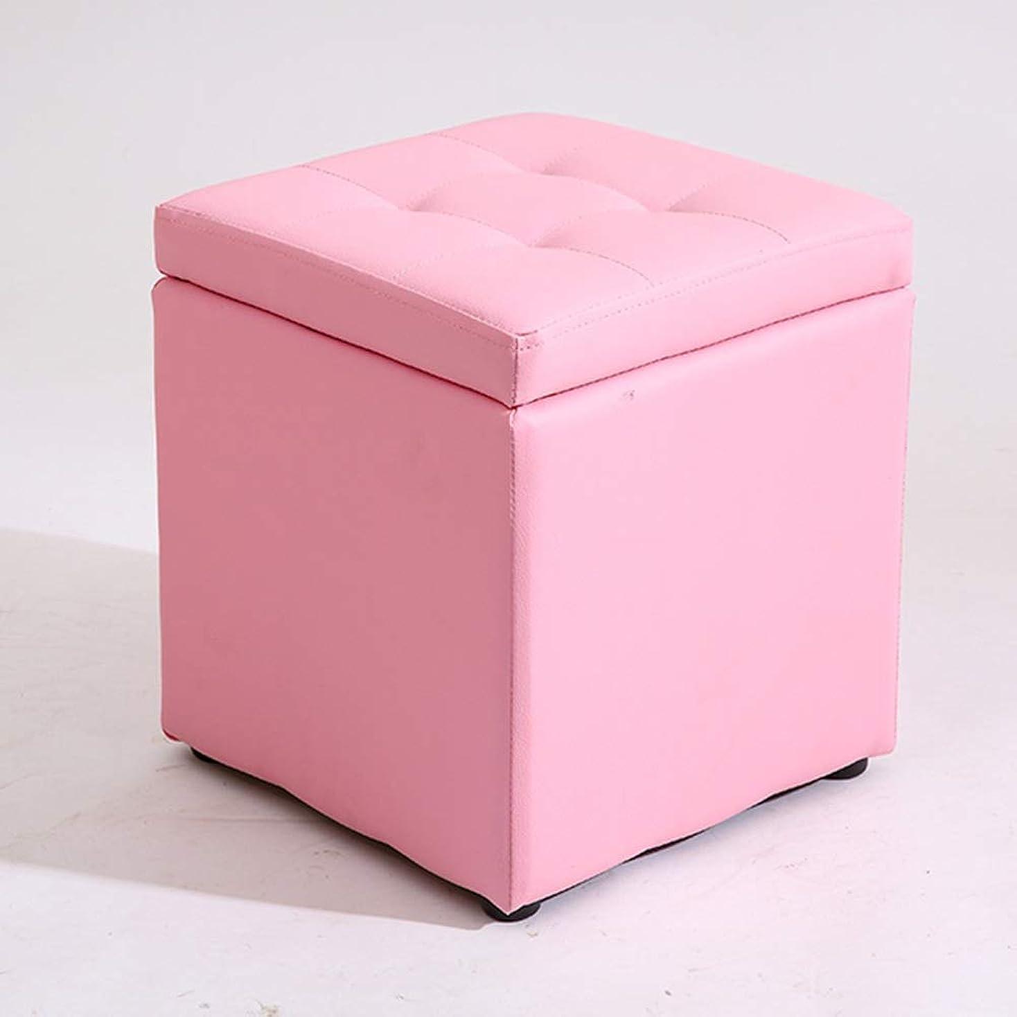 記録カード晴れZHAOYONGLI スツール 収納レザースツールショートロット正方形帆布シンプルチェンジシューズ防水 クリエイティブ 強い 丈夫 長寿命 (色 : ピンク, サイズ さいず : Large)