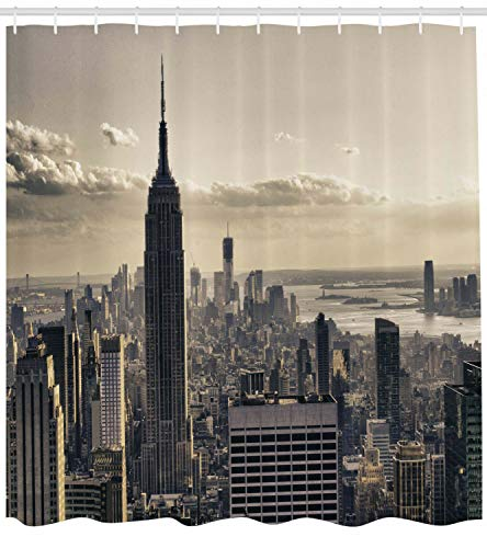 123456789 Vista aérea nostálgica de la Cortina de Ducha de Nueva York en Invierno