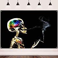 新しい頭蓋骨の背景FHZON 7x5ft煙霧の手の背景写真のテーマパーティーフィエスタバナーTa e装飾ケーキTa e写真ブースの小道具233