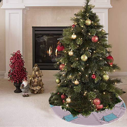 Falda de árbol de navidad Hermosa tienda de herramientas para el hogar móvil Tienda de campaña Falda de árbol de otoño Falda de poliéster para árbol Alfombra para fiesta Decoraciones navideñ