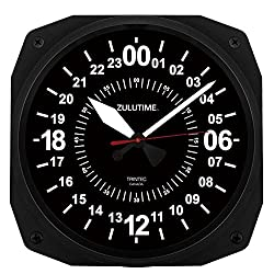 Trintec 24 Hour Square Military Time SWL Zulu Time 24Hr Black Wall Clock 10 Dial Ham Shack