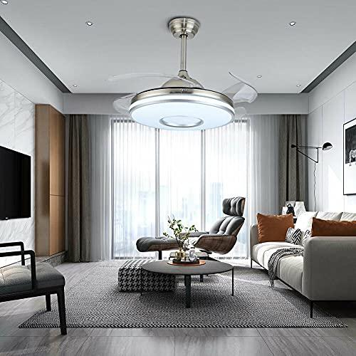 Ventilador de techo LED 2 en 1 con iluminación y mando a distancia, lámpara de techo moderna de 100 cm, con 4 aspas retráctiles, 3 velocidades, regulable y 3 cambios de color