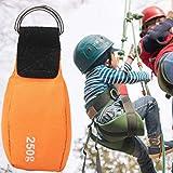 Borsa da lancio della corda, dotata di anello in metallo per il collegamento del cavo, sacco di sabbia per arrampicata, per arrampicata su albero, arrampicata su roccia e attività avventurose