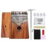 Asmuse™ Kalimba 17 Tasti Thumb Pianoforte in Solido Mogano Mbira Finger Piano,12 Accessori Superiori Inclusi Musica Libro Martello di Sintonia Borsa per Trasporto Custodia Protettiva di Pollice