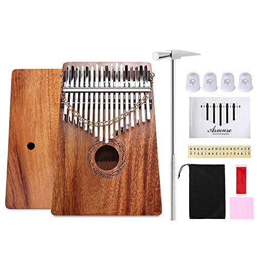 Asmuse Kalimba Caoba Thumb Piano 17 Teclas Marimbas Mbira Madera Maciza Finger Piano Sanza Thumb Instrumento con Cadena Extraíble con 12 Tipos de Accesorios (Electrónica)