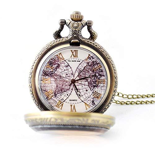 HEZHANG Relojes de Bolsillo Vintage Reloj de Bolsillo Clásico Vintage Liso Y Cadena para Hombre Números Romanos Reloj de Bronce Antiguo con Reloj de Bolsillo de Dial Blanco con Cadena,Bronce,Tamaño L