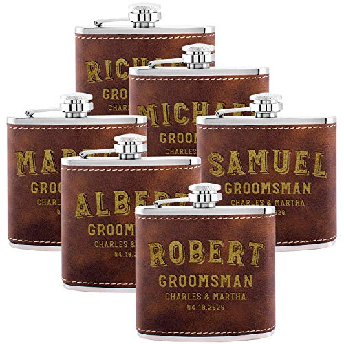 Set of 6 - Personalized Groomsmen Flasks, Groomsmen Gifts | 6oz Leatherette Personalized Flask for Liquor w Optional Gift Box - Personalized Groomsman Proposal Gifts | Wedding Favor #2 RUSTIC