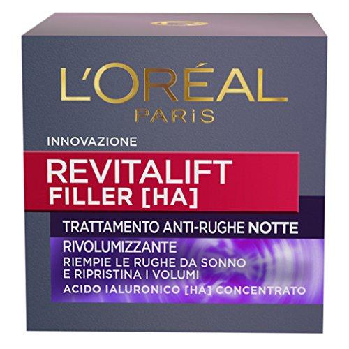 L'Oréal Paris Dermo Expertise Soin Revitalift Filler Crema Viso Anti-Rughe Rivolumizzante Notte, 50 ml