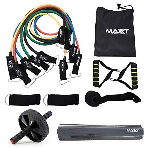 Maxxt 3 in 1 Übungs-/Therapie-Widerstandsbänder, Bauchmuskel-Trainingsroller und Yoga-Matte