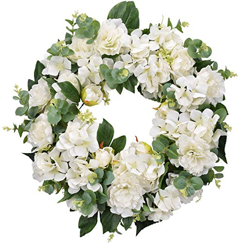 I-GURU Hydrangeas Spring Wreath for Front Door 22-24 Inch, Artificial Summer Green Wreaths with White Peony Flowers for Farmhouse Home Indoor Wedding Party Wall Windows Decor