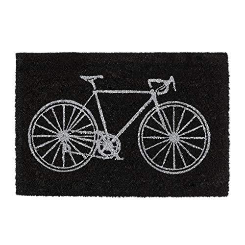 Relaxdays Zerbino in Fibra di Cocco, Tappetino con Disegno di Bici, Tappeto Antiscivolo per l'Ingresso, 60 x 40 cm, Nero