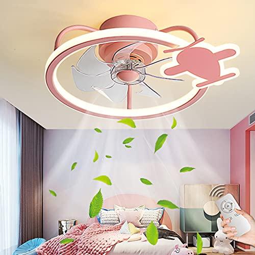 Ventiladores De Techo Con Iluminación Regulable Con Control Remoto Luz De Techo LED Lámpara De Techo Moderna Ventilador Silencioso Para Habitación De Niños Sala De Estar Dormitorio Comedor (Pink)