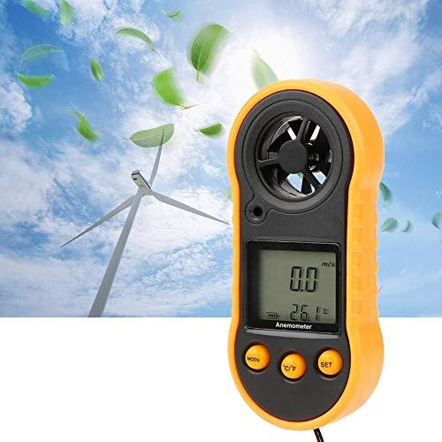 Mozusa Anemómetro digital portátil, Indicador GM818 LCD portátil viento Velocidad Caudal de Aire medir con precisión la velocidad del probador del metro del termómetro por un tiempo de Recogida de Dat