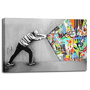 Street Art Banksy Behind The Curtain Graffiti Street Art Wall Artworks Print On Canvas Home Decor For Living Room Office Bedroom  Curtain 24x36inch 60x90cm