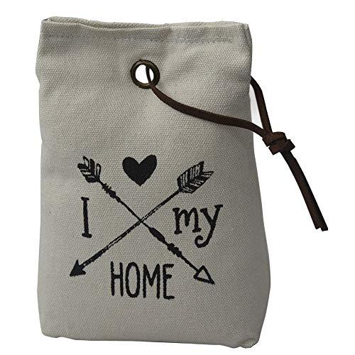 Hogar y Mas Sujetapuertas Decorativo Blanco Roto Textil, Frase Motivadora 1,3 kg. Forma de Saco con Cuerda de Cuero para Puertas 17x7x12 cm