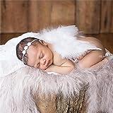 HENGSONG Baby Neugeborene Fotoshooting Kostüm Engelsflügel Fotografie Prop Engel Feder mit Blumen...