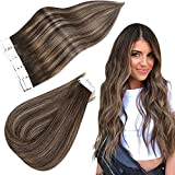 Easyouth Extensiones Adhesivas Pelo Natural Balayage 18pulgadas 40g Color 2/8/2 Darkest Brown Fading to Ash Brown Highlighted Darkest Brown Straight Hair 100% Cabello Remy Extensions