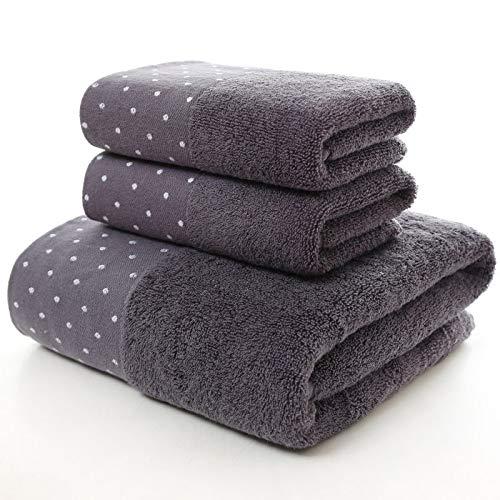 HaHei 3 juegos de toallas de algodón con lunares envoltorios de regalo, toalla absorbente suave, 1 toalla de baño, 2 toallas, algodón, Gris oscuro, 70/140cm,35*75cm